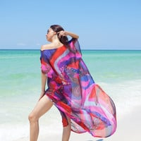 Silk Beach cover up,  luxury swimsuite cover up,  beach kaftan, honeymoon or resort wear, designer pure silk fabric must have for summer