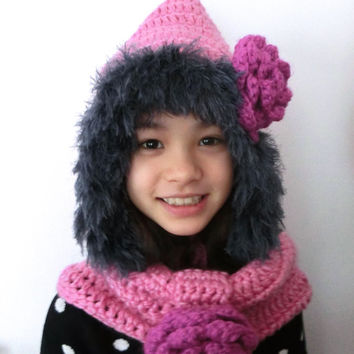 Sale - Girl's Hoody Hat, Neck Warmer Crochet Pink Hat and Pink Cowl Girls' Floral Accessory Winter Accessory Gift Ideas Christmas Gift