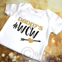 Daddy's WCW, gold and black glitter baby shirt, sparkly baby shirt, Baby Girl Clothes, Hipster, Newborn Baby, Baby Gift, Daddy's Woman Crush