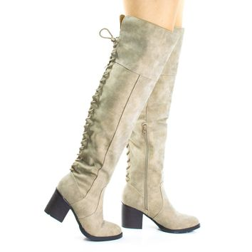 Victoria06S Taupe By Bamboo, Back Corset Lace Up w High Block Heel Over Knee Boots