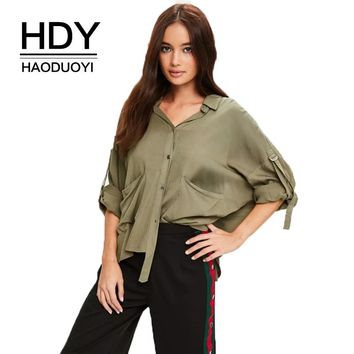 Autumn Women Solid Khaki Utility Casual Shirts Pocket Lace-Up Buttons Female Blouses Lady Elegant Tops