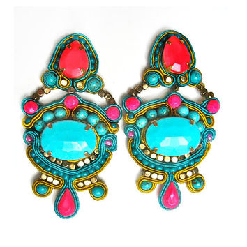 JASMINE soutache earrings in neon pink and by BlackMarketJewels