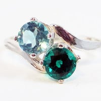 Apatite and Emerald Ring Sterling Silver 2 Stone Ring