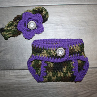 Camo and Purple Little Hunting Girl Camo Baby Diaper Cover and Headband Baby Shower gift
