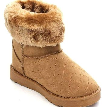 Furry Quilt Vegan Shearling Suede Fleece Women's Flat Boot