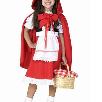 Halloween new cute 80-160cm kid child  girl Little Red Riding Hood cosplay carnival suit party costume dress+cloak suit uniform