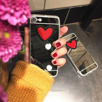Clear Mirror Case For iPhone 7 6 6S Plus - Cute DIY Stitches Love Heart Pattern Cover