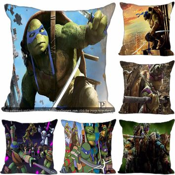 Custom Teenage Mutant Ninja Turtle Square Pillowcase Custom Zippered Pillow Cover Case 35X35,40x40,45x45cm(One Side)180522-02-12