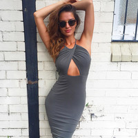 Fashion Backless Hollow Solid Color Bodycon Sleeveless Halter Dress