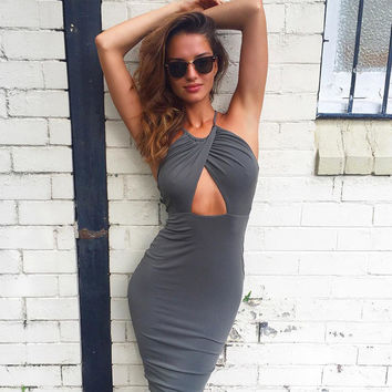 Fashion Female Solid Color Hollow Sleeveless Backless Crisscross Straps Strappy Tight Mini Dress
