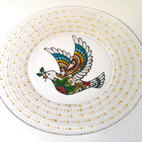 Dinnerware Dove with Olive Branch Colorful Hand Painted Glass Plates