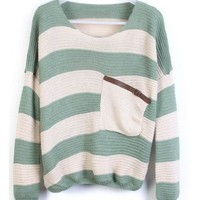 Green Stripes Loose Sweater with Pocket  style sweater391