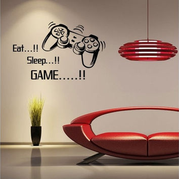 Eat Sleep Game Modern Design Vinyl Wall Stickers Black Wall Decals Waterproof Window Stickers Creation Art for Boys Girls Cute Children Kids Living Room Bedroom Home Decoration Murals Wallpaper