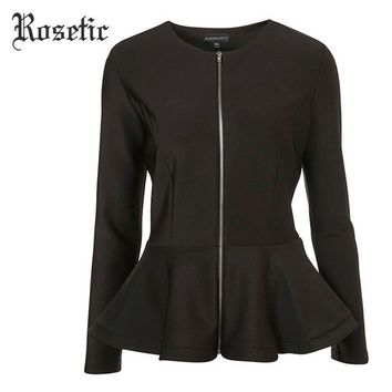 Trendy Rosetic Gothic Style Black Patchwork Ruffles Long Sleeve 2017 Autumn Women Office Slim Jackets AT_94_13