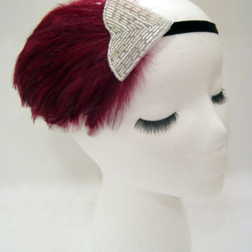 The Irene - dark red feather 1920s style headpiece, burgundy flapper headband, maroon art deco headpiece, merlot Gatsby hairpiece