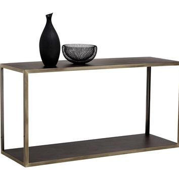 MARIA ANTIQUE BRASS FRAME WITH ACACIA WOOD TOP CONSOLE TABLE