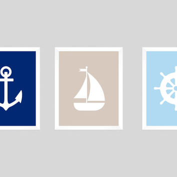 Nursery Art Decor, Baby Boy Decor, Nursery Print, Nautical Decor, Nautical Print, Sailboat Print, Anchor Print, CUSTOMIZE YOUR COLORS, 8x10