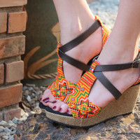 Vegan Ethnic Womens Sandals Tangerine Hmong Embroidery Faux Leather Straps Wedge Heel