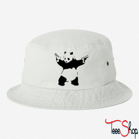 Panda with guns bucket hat