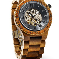 Dover Koa & Black - Skeleton Face Wood Watch by JORD