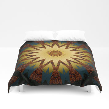 Brushed Gold Burgundy Blue Star Mandala Duvet Cover by Sheila Wenzel