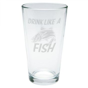 LMFCY8 Drink Like A Fish Snook Sergeant Robalo Etched Pint Glass