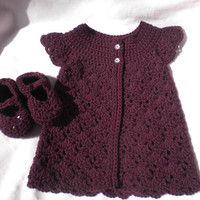 Crocheted Infant Girl Sweater MaryJanes Plum Baby Cashmerino Yarn 12 18 mo.