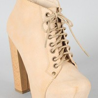 Francheska-01 Lace Up Square Toe Ankle Bootie