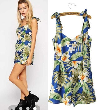 Stylish Print Cotton Spaghetti Strap Jumpsuit Romper [6315455745]
