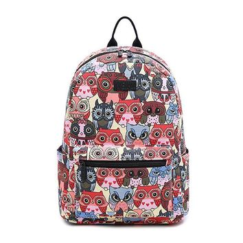 New Fashion Printing Backpack Female Animal Owl Women's Backpacks High Quality Canvas Laptop Backpacks Two Size