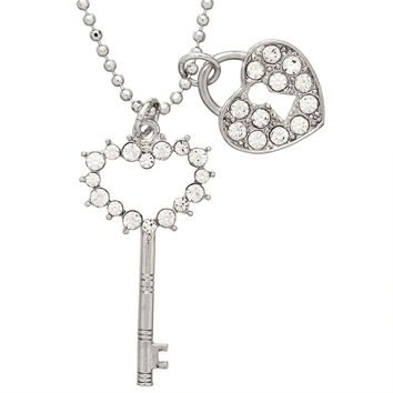 Gemmed Key And Heart Lock Necklace