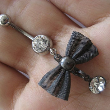 Bow Belly Button Ring Navel Jewelry Piercing