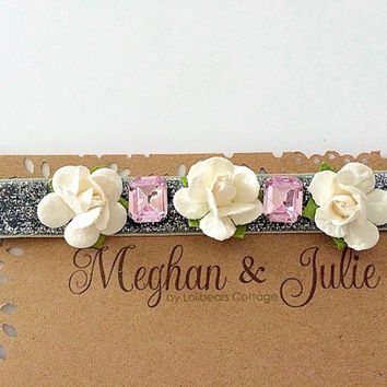 Girls/ Baby Flower Headband, Silver and pink sparkly headband. Baptism headband, Holiday Sparkly headband, Meghan and Julie Holiday Headband