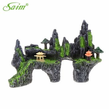 "11.7"" Simulation Rockery Decorative Aquarium Mountain View Stone Ornament Tree Rock Cave Fish Tank Decoration"
