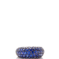 Blue Sapphire Ring in 18K Black and White Gold