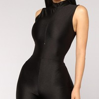 Urban Landscape Sleeveless Mock Neck Half Zipper Bodycon Romper Playsuit - 5 Colors Available