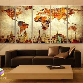 "XLARGE 30""x 70"" 5 Panels 30""x14"" Ea Art Canvas Print Original Wonders of the world Old Paper Map vintage Wall decor Home interior (framed 1.5"" depth)"