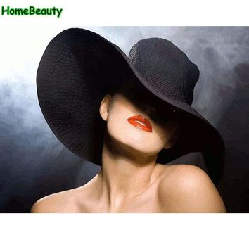 Oil painting by numbers on canvas modular painting hand painted coloring by number decor wall art black bowler hat women WR054
