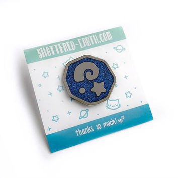 Animal Crossing Glitter Fossil Galaxy Enamel Pin - ACNL New Leaf Glitter Nebula