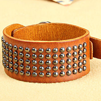 Fashion Punk  Adjustable Leather Wristband Cuff Bracelet  - Great for Men, Women, Teens, Boys, Girls 2747s