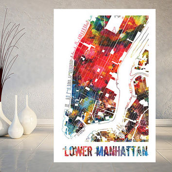 New York City Map Watercolor print Lower Manhattan poster New York Downtown city map print Wall Decor US cities map art wall art gift [224]