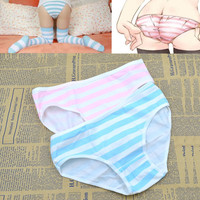 Cute Women Girl Anime Style Intimate Panties Blue Pink&Green Striped Underwear Cosplay Accessories