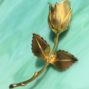 Gold Rose Pin | Roses Brooch | Flower Jewelry | Floral Jewelry | Gifts for Her | Vintage Jewelry