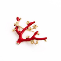 Christmas Tree Brooch Bird Flower Christmas Gifts Beautiful Tree Brooch Pins for Gifts Scarf Buckle Accessory