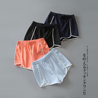 Women's White Line Patch Work Home Stay Casual Short Pants
