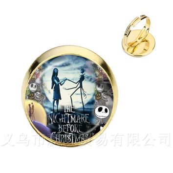 2018 Fashion Jack Skellington And Sally Rings Bohemian Rings Nightmare Before Christmas Gift Jewelry Party Gift