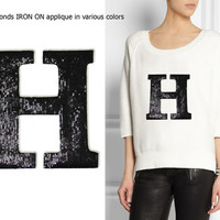Iron On Letter H Patch Applique for DIY Crafts and Home Decor