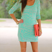 Passion Paradise Dress, Mint/Taupe
