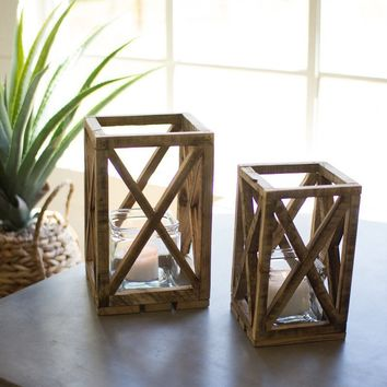 Set of 2 Recycled Wooden Lanterns With Glass Insert