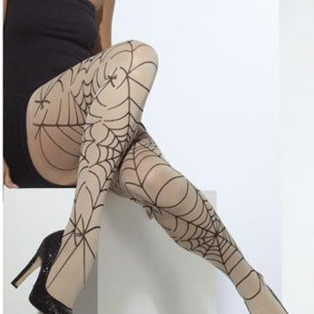 Opaque Spiderweb Print Tights - Nude